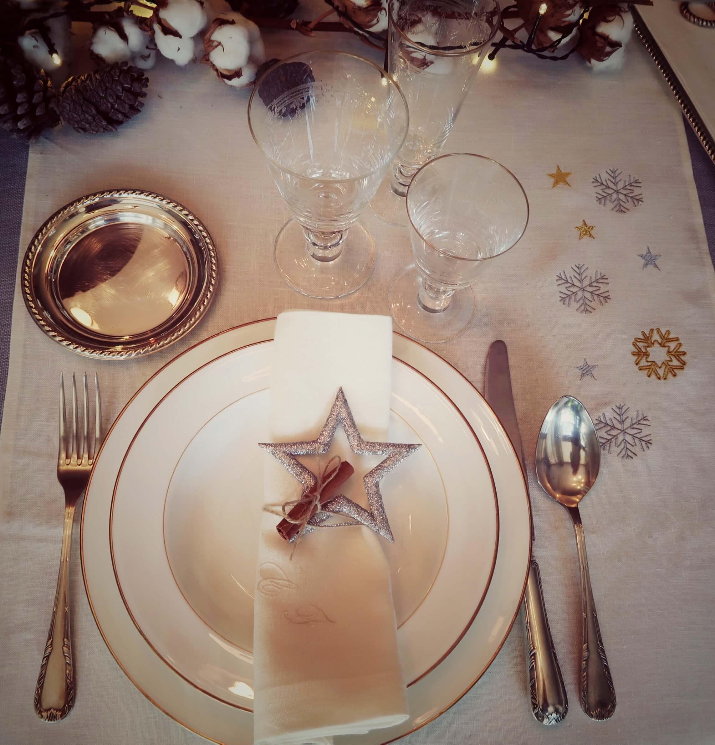 decoración mesas navidad lino